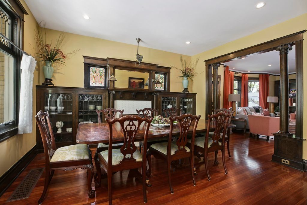 Antique Looking Dining Room with Dark Wood