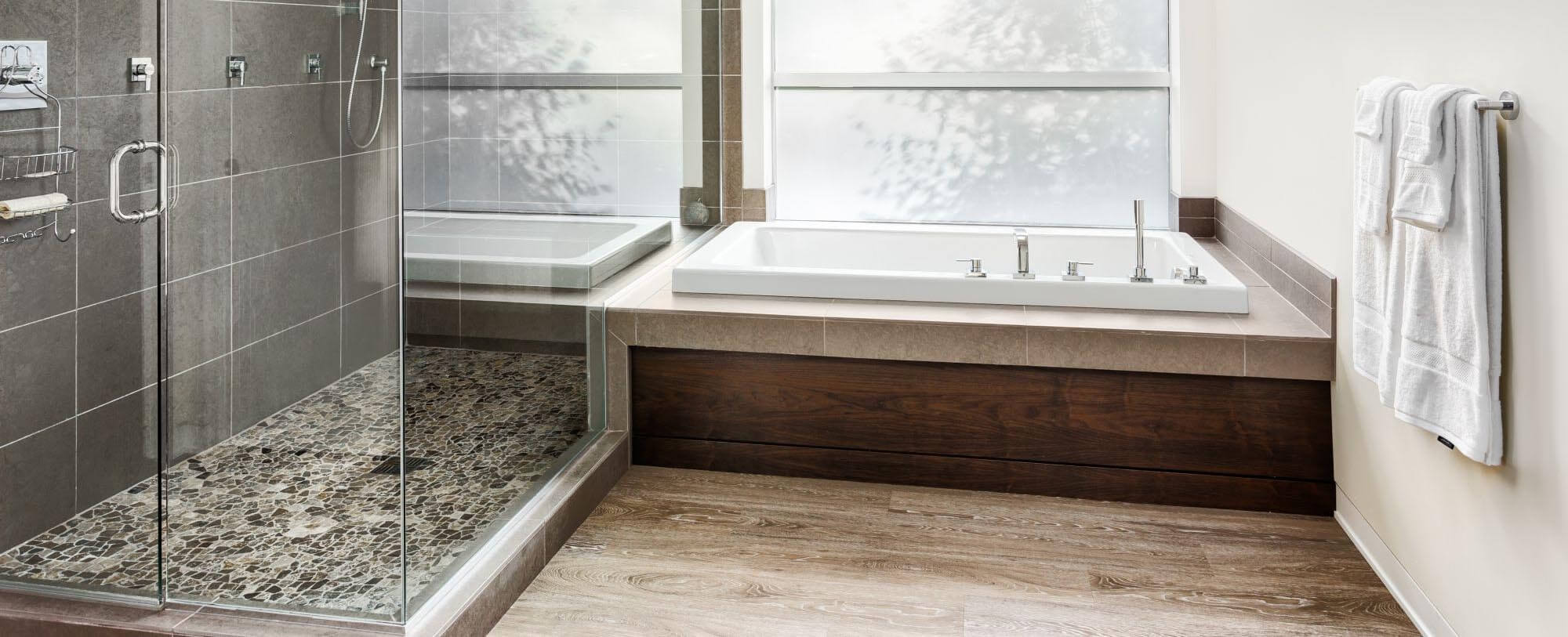 Modern Bathroom with Soaker Tub and Glass Shower